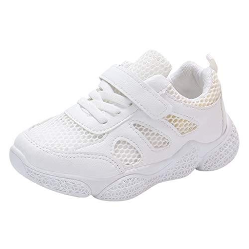 HDUFGJ Unisex-Kinder Sneakers Laufen Schuhe Aushöhlen Sportschuhe Sneakers Jungen Mädchen Outdoorschuhe Outdoorschuhe Wanderhalbschuhe Fliegendes Weben Luftkissen Flache Schuhe 26 EU(Weiß)