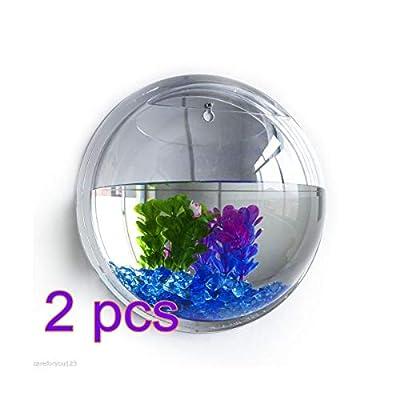 Tomister Wandhängende Aquarien, Transparente Runde Acryl-Fischschüssel für Heimdekoration Pflanztopf Hydrokultur-Topf