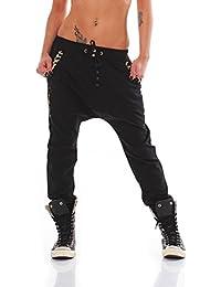 Fashion4Young Damen Haremshose Hose Baggy Boyfriend Freizeithose Jogginghose Sporthose in 5 Gr.