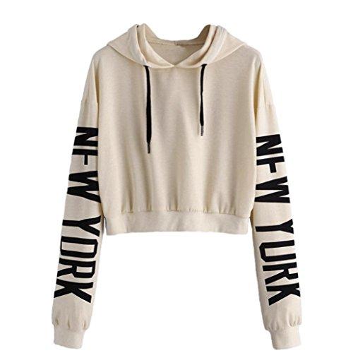 Binggong Sweatshirt, Damen Lässige lange Ärmel Kapuzenpulli Brief Druck T-Shirt Bluse Kurz Sweatshirt Oberteil Tops (L, Beige) (Ärmel Pullover Lange Kurze)