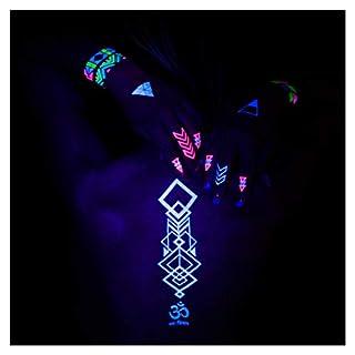 AKTIIV NEON KLEBE-TATTOOS | Hakuna Matata Edition Set mit 5 x DIN-A5 Bogen temporären Tattoos in fluoreszierenden Neon Farben zum Aufkleben auf die Haut | Leuchten unter Schwarzlicht/UV Licht | Fluoreszierende Neon Klebetattoos zum aufkleben auf die Haut | Klebe Tattoos in Neon Farbe - Dein Style für Festivals & Party's