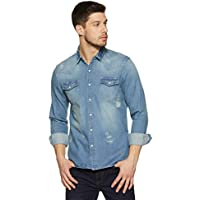 Amazon Brand - Inkast Denim Co. Men's Solid Slim Fit Casual Shirt (IN-S-17A_Medium Blue_Large)