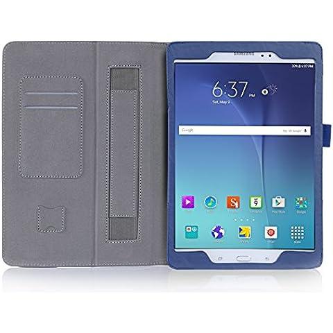 ISIN Funda para Tablet Serie Funda de Premium PU con Stand Función para Samsung Galaxy Tab A 9,7 de 9,7 pulgadas WIFI LTE P550 P555 T550 T555 Tablet con Velcro Correa para la Mano y Ranuras para Tarjetas (Azul)