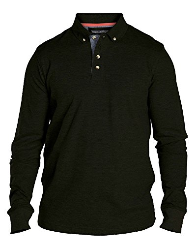 Duke da uomo Kingsize Navy Polo a maniche lunghe con colletto a quadretti Black XXXXX-Large