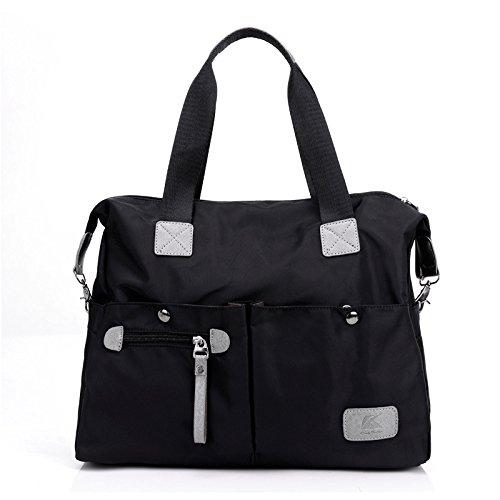 LINGE-Diagonale delle signore di borsa a spalla viaggio inclusa borsa esterna in nylon , black Black