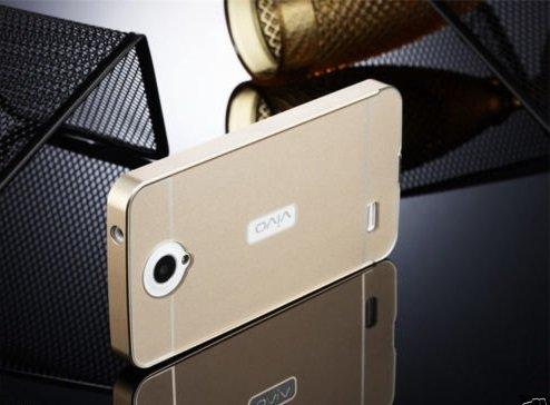 D-kandy Luxury Metal Bumper + Acrylic Mirror Back Cover Case For VIVO Y21 Y21L - GOLD
