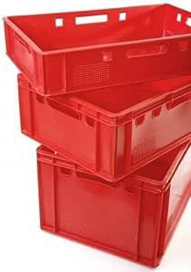 aidB Fleischerkasten E1 rot 600 x 400 x 125 mm Lebensmittelecht mit geschlossenem Boden und Seiten