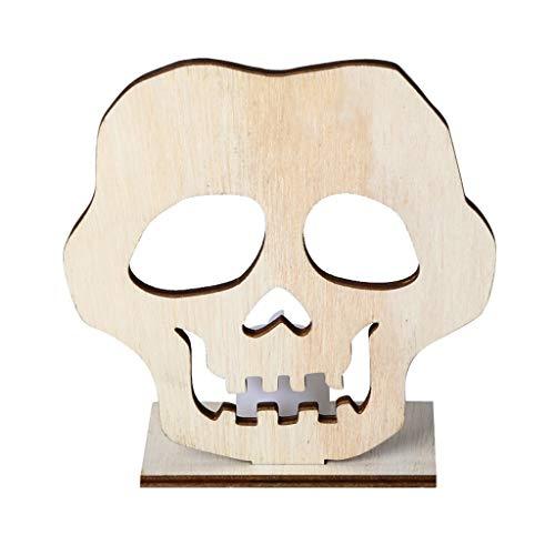 FURU DIY Holz Halloween Schädel Hohl Anhänger Platte Ornament Mit LED Süßigkeiten Licht Lampe Home Party Decor Supplies (Halloween Gesunde Platte)