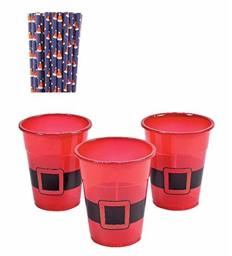 Geschirr Weihnachten Party Supply Bundle-Santa Einweg Kunststoff Becher und Santa Hat Navy Papier Trinkhalme: Paket von je 50