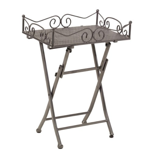 eckbaenke nach ma  greemotion Beistelltisch Toulouse in Eisengrau, leichter Terrassentisch in edlem Design, Gartentisch mit praktischen Stellfüßen, Bistrotisch mit abnehmbarem Tablett