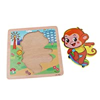 Sharplace Early Educational Toy 3D Wooden Animal Puzzle Board