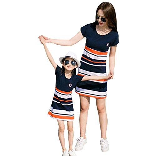 Felicy Mother and Daughter Matching Dress, Women Baby Girls Summer Striped Letter Print Short Sleeve Sundress Beach Mini Dresses Parent-Child Family Clothes