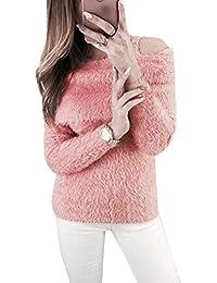ed66abcc638b TOOGOO Winter Warm Haarig Weich Plüsch Pullover Schulterfrei Pullover  Langarm Pullover Rosa S US