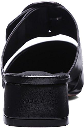 Calaier Femme Camore 3CM Bloc Glisser Sur Mules et sabots Chaussures Noir
