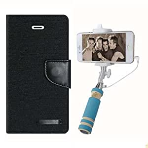 Aart Fancy Wallet Dairy Jeans Flip Case Cover for MicromaxA104 (Black) + Mini Fashionable Selfie Stick Compatible for all Mobiles Phones By Aart Store