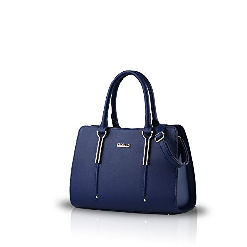 Nicole&Doris New Präge Mode Wilde Reisetaschen Mädchen-Schule-Taschen Rucksäcke PU-Leder-Handtasche blau