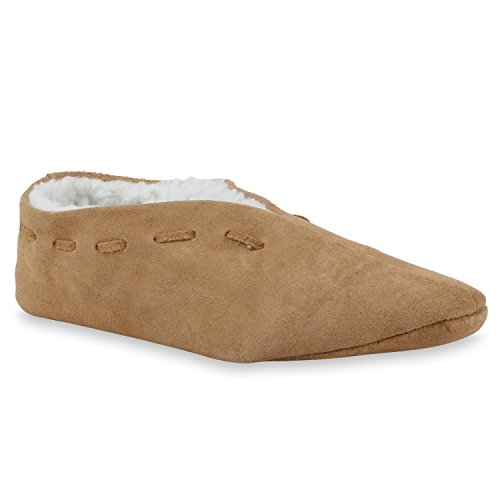 Warm Gefütterte Damen Herren Haus Pantoffeln Bequem Flats Leder Schuhe 110469 Hellbraun 43 Flandell (Herren-haus Schule)