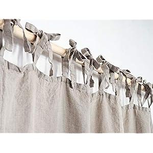 Leinen Vorhang mit Krawatten   Krawatte oben Leinen Vorhang Panel   Leinen Vorhang