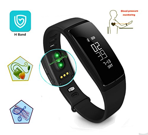Price comparison product image Dax-Hub V07 IP67 Waterproof Smart Bracelet Watch sports tracker Smartwatch with Sphygmomanometer,  Heartrate monitor,  pedometer,  fitness wristband Bluetooth 4.0 track of Calories,  health monitoring armband compatible with Android 4.3 and 4.4 / 4.5 / 5.0 ,  IOS 5.1 7.0 / 8.0 8.1 / 4s / 5s / 6 / 6s / 7 / 7plus smartphone (Black)
