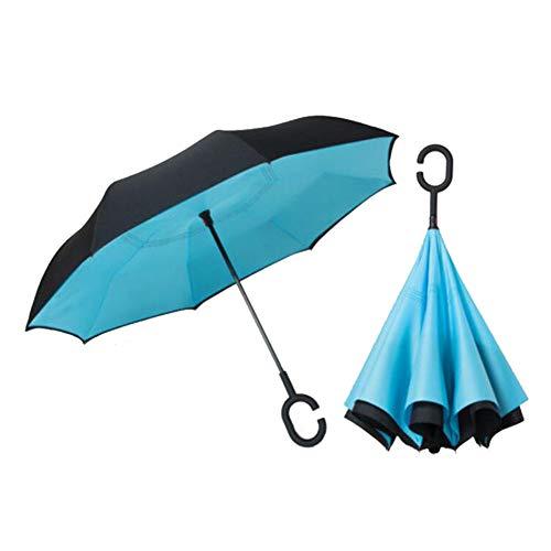 FMIKA Inverted Stockschirme 40 Zoll, Reverse-Regenschirm Double Layer Freie Hand groß mit C-förmigem Griff Auto Umkehrschirm Winddicht UV-Behandlung regenfest Unisex,A -