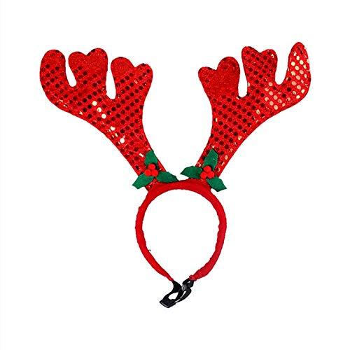 Tiara Kostüm - quttybrave Niedliche Katze und Hund rotes Geweih Haarnadel Haustier Katze Hund Weihnachten Kostüm Weihnachten Tiara Haarband