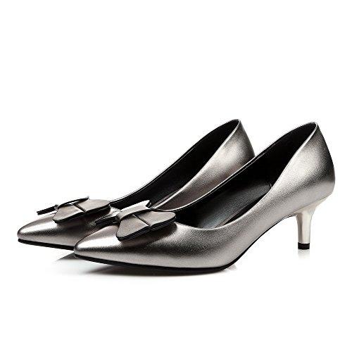 VogueZone009 Damen Mittler Absatz Weiches Material Rein Ziehen Auf Spitz Zehe Pumps Schuhe Silber 1WvIkmic