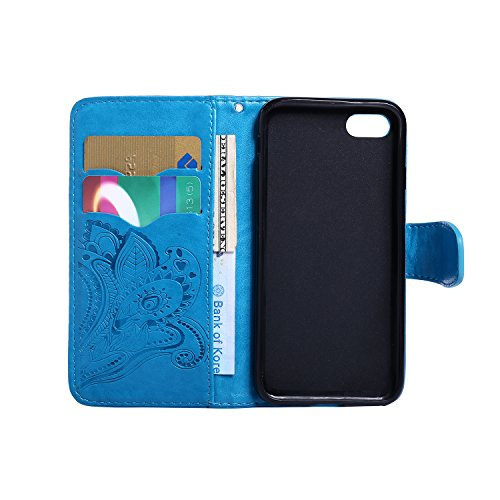 CaseHome iPhone 7 4.7'' Hülle Geprägter Henna Blume Muster Buch-Stil Folio Magnetic Schließung Portemonnaie Stilvolle Elegante Entwurf (Mit Freiem HD Schirmschutz) mit Kreditkartensteckplätze und Abne Blau