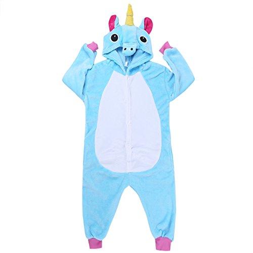 Freebily Unisexe Enfants Pyjama Combinaison À Capuche Mignon Licorne Animaux Déguisement Cosplay Costume Garçon Fille Vêtements de Nuit 2-12 Ans Bleu 10-12 Ans