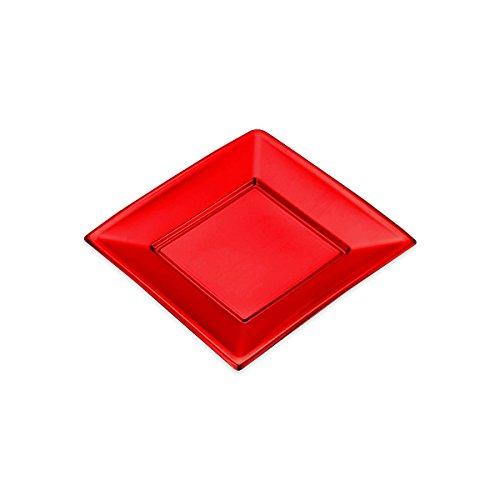 Platten Square Kunststoff Rot Metallic - 17 x 17 cm - 4 Einheiten (Kunststoff-square-platten)