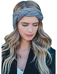 03170d38701bdf Damen geflochtene Gestricktes Stirnband, Tukistore Pure Farbe Stirnbänder  Mode Warme Crochet Kopfband Haarband Wolle Kopf
