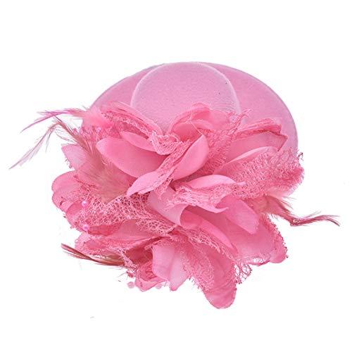 GOUNURE Frauen Lace Wide Brim Fedora Hats Elegante Bowler Cap mit Feder Haarspange für die Abendgesellschaft -