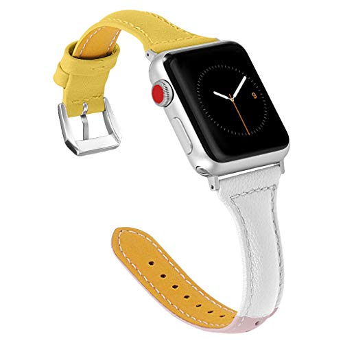 TianranRT★ Universal-Uhrenarmband - Ersatz-Lederarmband Für Apple Watch Series 4 44Mm, Elegant, Neu Und Langlebig, Gelb (Apple Fräser)