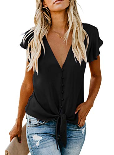 Aleumdr Mujer Blusa Sólido con Botón Camisa de Liso Camiseta de Mujer Cuello V Negro Size M