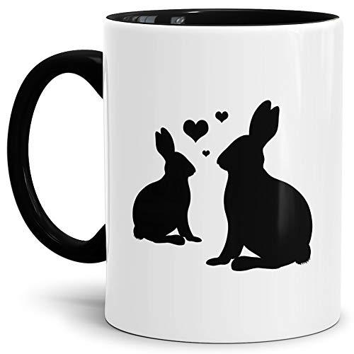 Liebes-Tasse Hasen Innen & Henkel Schwarz/Ostern/Hase/Schön/Witzig/Mug/Cup/Kaffeetasse/Oster-Geschenk Qualität - 25 Jahre Erfahrung (Mikrowellen Oster)