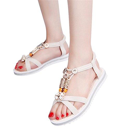 Kingko® Perlen Sandalen Studenten flache rutschige modische Ärmel Beige