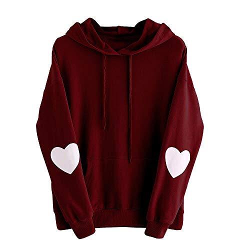Xmiral Damen Sweatshirt Plus Size Langarm Solide Herz Hoodie Frauen Polyester Plain Jumper Pullover Tops Bluse (S,Wein) (Plus Size Ralph Lauren Für Frauen)
