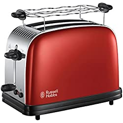 Russell Hobbs 23330-56 Toaster, Grille Pain Extra Large Colours Plus, Cuisson Rapide et Uniforme, Contrôle Brunissage, Chauffe Viennoiserie - Rouge