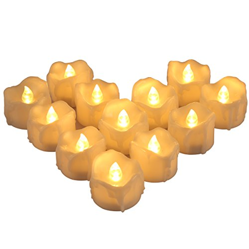 AMIR LED Kerzen, 12 Led Teelichter mit Timer, Flammenlose Kerzen, Batteriebetriebene LED-Kerzen mit Timerfunktion für Weihnachten, Wohnaccessoires, Bars, Hotels, Partys, Hochzeit usw (Warmes Weiß)