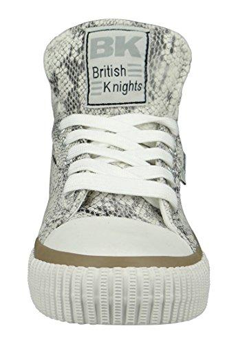 British Knights Dee, Baskets hautes femme Gris clair/blanc