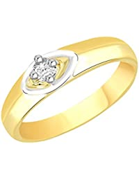 VK Jewels Eye Catchy Gold And Rhodium Plated Alloy CZ American Diamond Ring For Men [VKFR2082G]