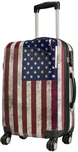 Trendyshop365 Handgepäckkoffer Motiv USA Flagge 57 cm 38 Liter 4 Räder Bunt Zahlenschloss (And Stripes-flagge Stars)