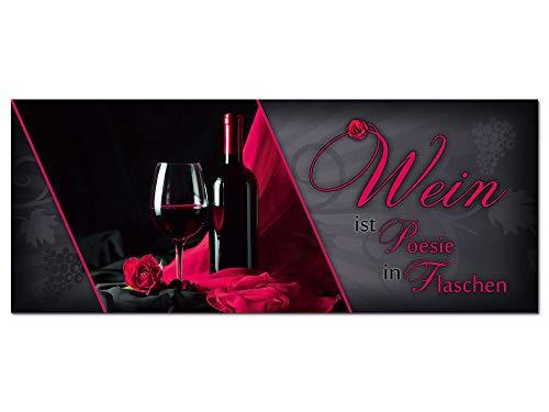 GRAZDesign Wandbild Wein mit Spruch schwarz/rot Küche - Glasbilder Küche - Bilder aus Echtglas für Fass Bar - XXL - Bar Dekoration - freischwebende Optik / 125x50cm / 100088_002_Glas -