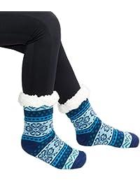 HapiLeap Womens Winter Thermal Snowflake Fleece Lining Fuzzy Warm Indoor Home Socks