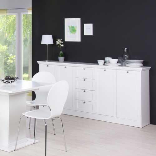 Sideboard in weiß, 4 Schubkästen, 4 Türen, 4 breite Einlegeböden,Metallknöpfe im Vintage-Look,Maße: B/H/T ca. 200/90/40 cm - 2