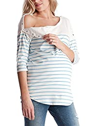 WEIMEITE Las Mujeres a Rayas Maternidad Lactancia La Lactancia Embarazada 3/4 Manga Superior Camiseta Lactancia Materna Blusa