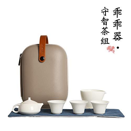 XLCLSA asda Ensemble de thé de Voyage en céramique Sac Portable Mini Bureau Tasse à thé de Style Japonais Simple poterie de théière de Bureau en Plein air - Groupe de thé Shouzhi
