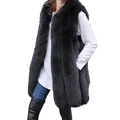 JiaMeng Fashion Damen Kunstpelz Weste Weste Warmer Mantel Jacke Outwear Strickjacke