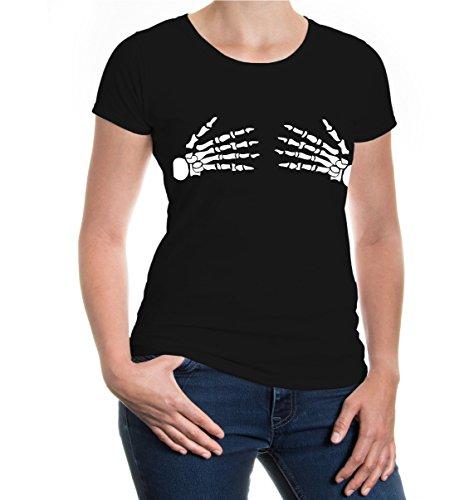 zarm Girlie T-Shirt bedruckt Skelett Hände | Anatomie Halloween Karneval | L black-white Schwarz (Frauen Anatomie Kostüm)