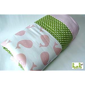 Baby Krabbeldecke Spieldecke und Laufgittereinlage 100x120cm weich gepolstert Rosa Grün Wale, auch als Set mit Schlafsack