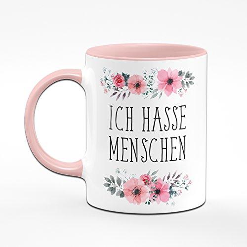Ich Hasse Menschen Tasse - Kaffeetasse Rosa Blumig - Lustige Tasse - 2